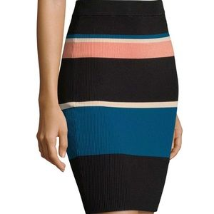 Arc Roby Multi Stripes Body Con Pencil Skirt NWT